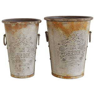 "Embossed ""Le Jardin Paris"" Tin Urns, Distressed Zinc Rust Finish"