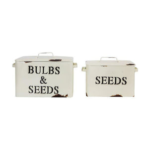 Cream Decorative Metal Containers w/Bulbs & Seeds Images