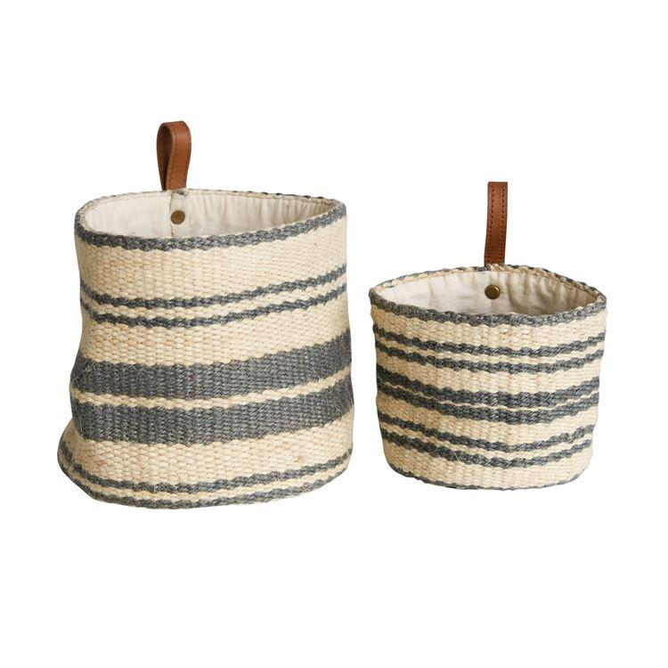 Gray Jute Wall Baskets w/ Leather Loop