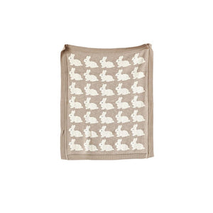 Taupe Cotton Knit Blanket w/ Rabbit