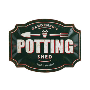 """Potting Shed""Embossed Tin Wall Decor"