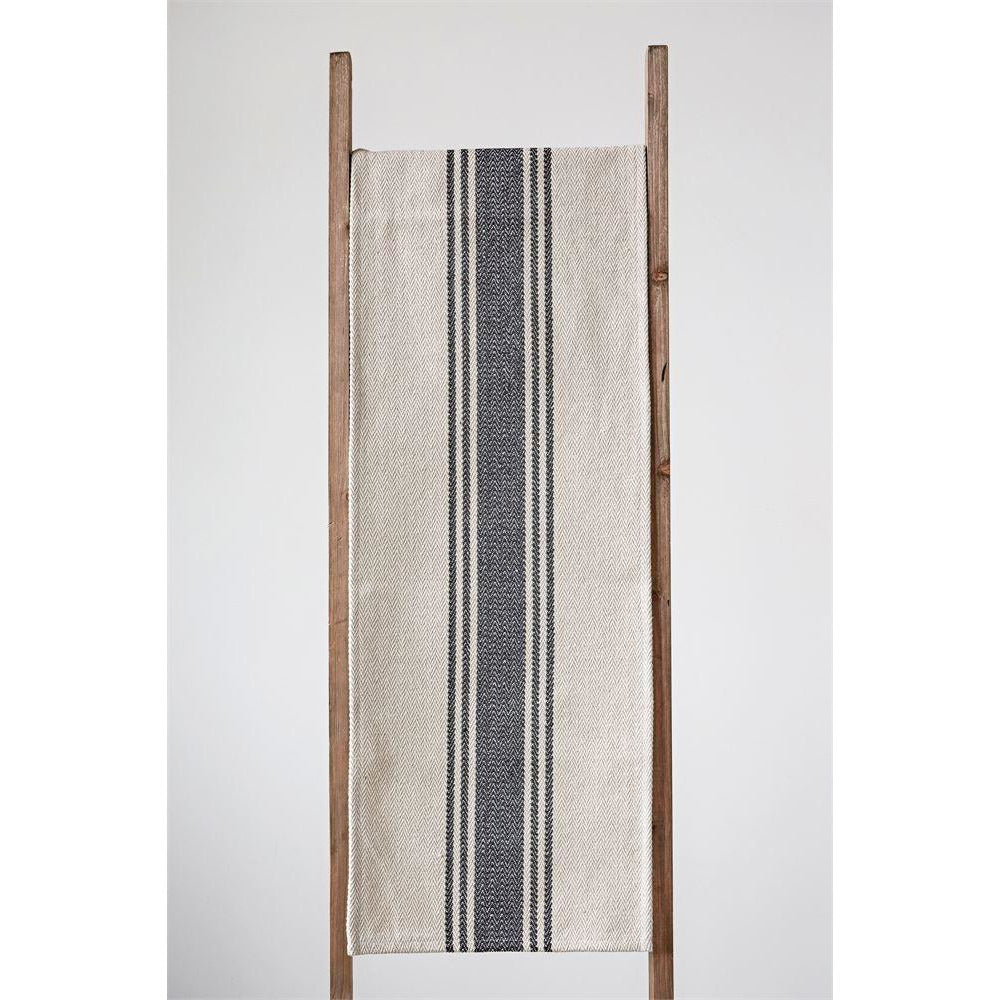 Cotton Canvas Table Runner w/ Black Stripes