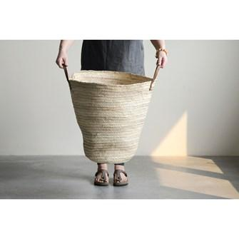 Hand-Woven Moroccan Oversized Basket w/Leather Handle
