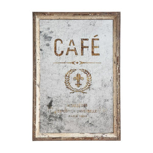 """Café"" Wood Framed Antique Mirror"