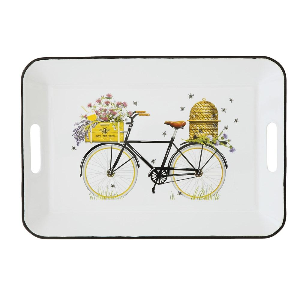 Bees & Bicycle Enameled Tray w/Handles