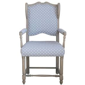 Grey w/White Polka Dots Mango Wood & Woven Fabric Chair