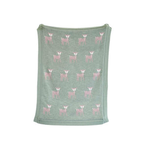 Green Cotton Knit Blanket w/Deer