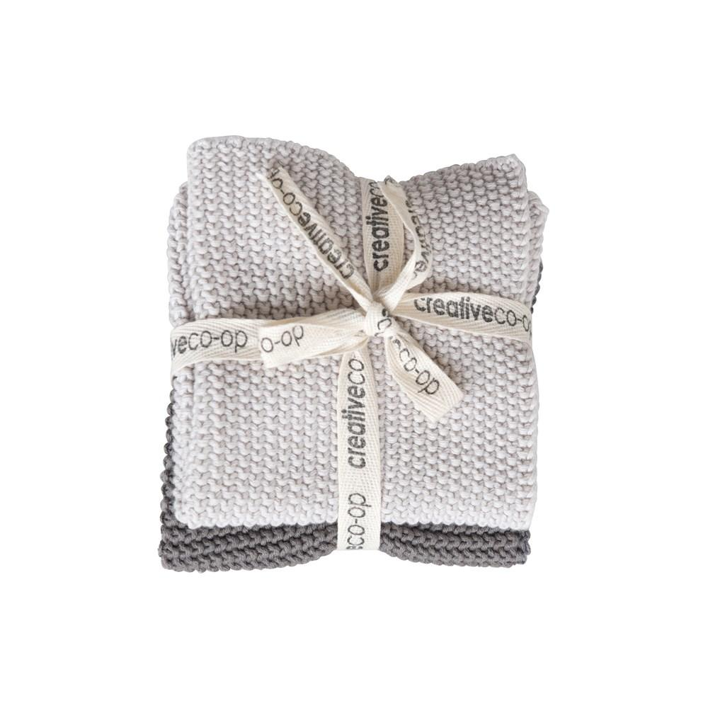 Square Cotton Knit Dish Cloths - Gray/White