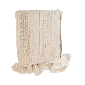 Natural Color Cotton Knit CableThrow w/ Tassels