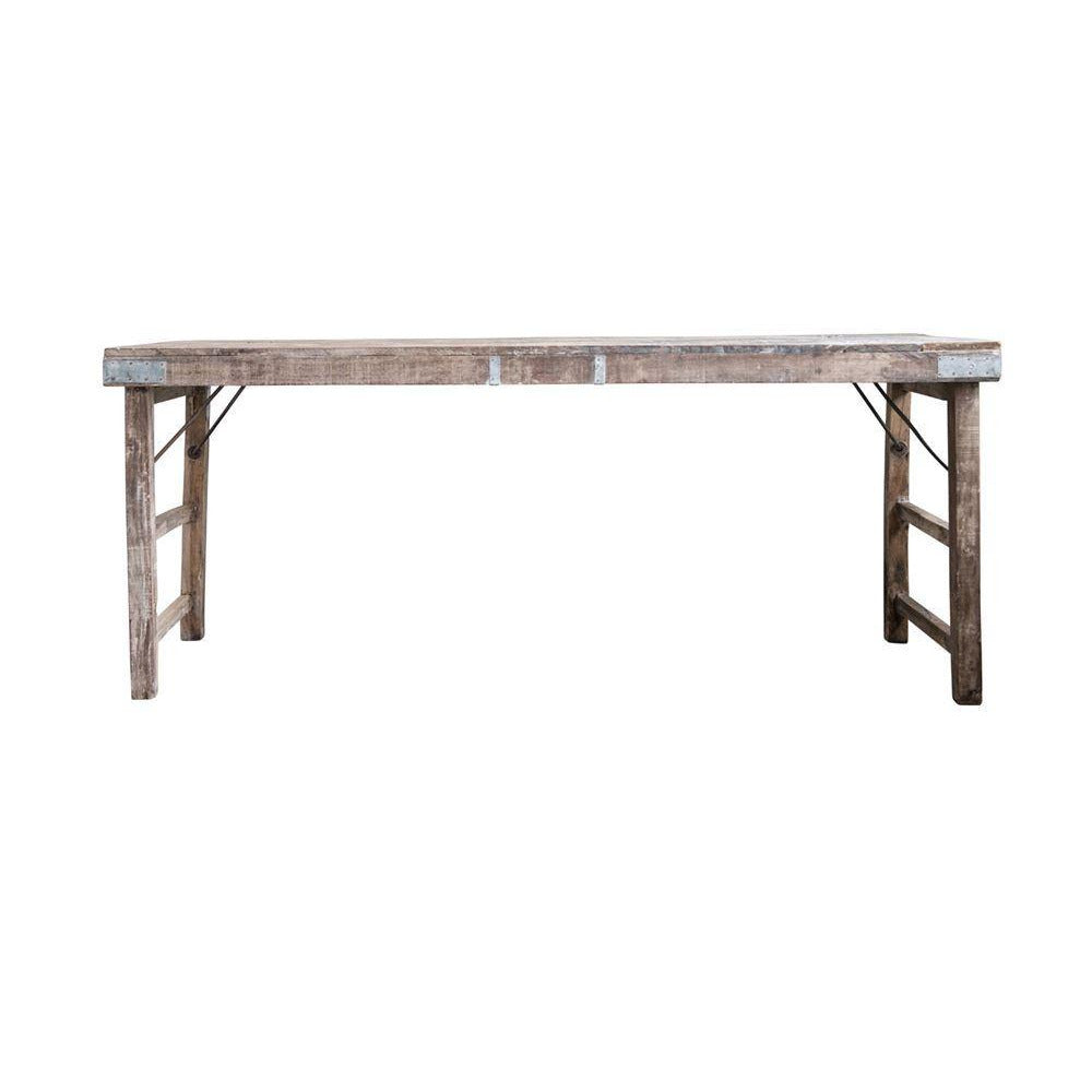 Reclaimed Wood Folding Table w/Tin Patch