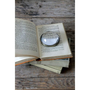 Round Metal & Glass Paperweight/Magnifying Glass
