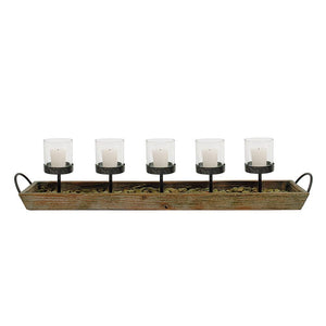Wood & Metal Votive Holder w/5 Glass Votives