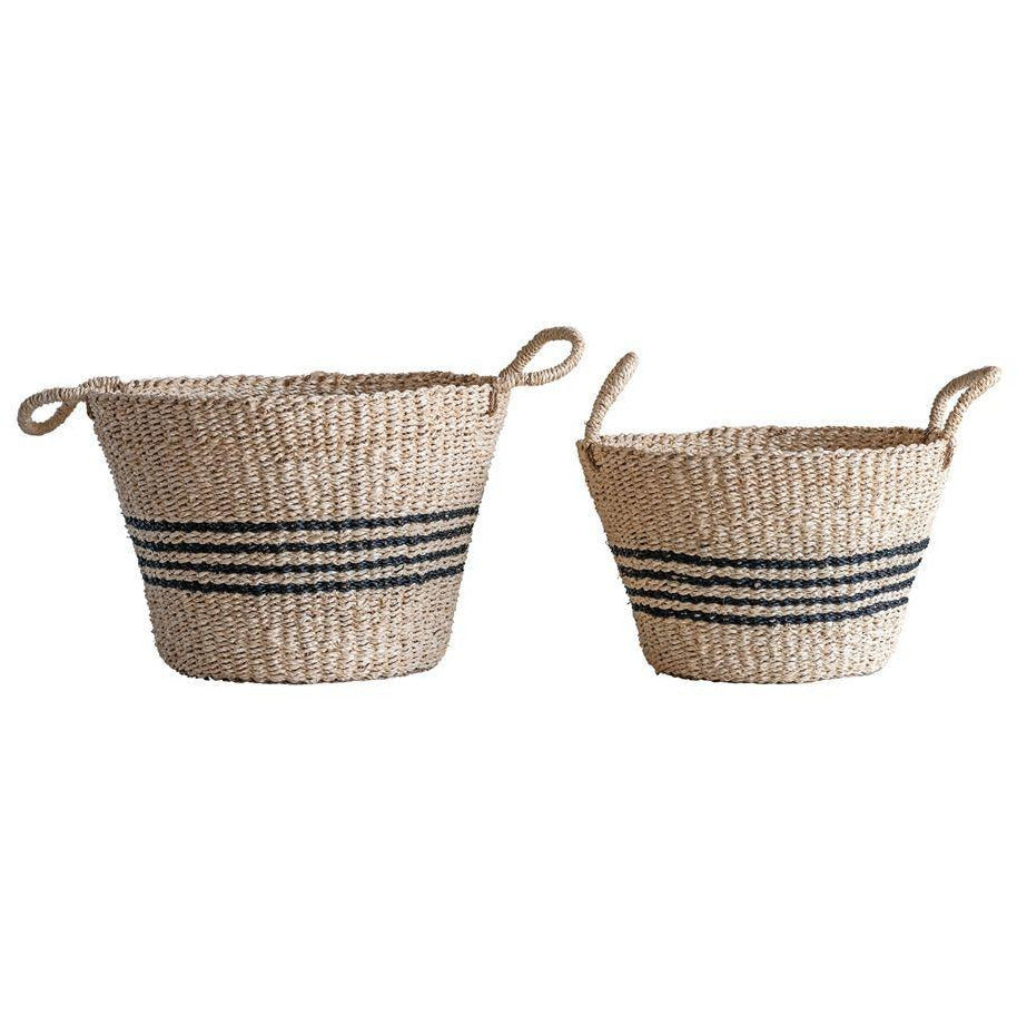 Palm & Seagrass Black Striped Baskets