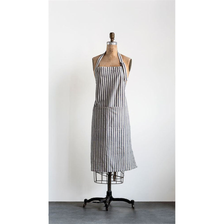 Grey Cotton Striped Apron