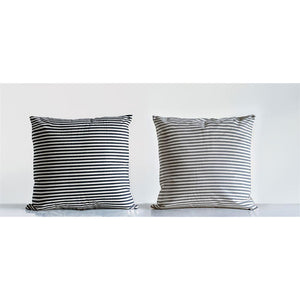 Black Cotton Striped Pillow