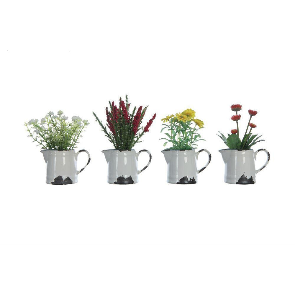Faux Flowers in Ceramic Pitcher