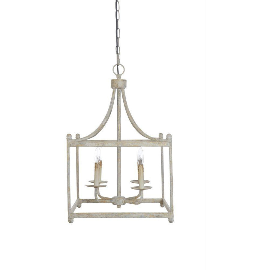 Cream Metal Pendant Lamp, 4 Lights