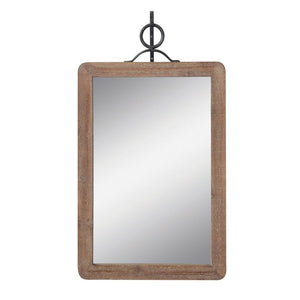 Wood Framed Wall Mirror w/Metal Bracket - Large