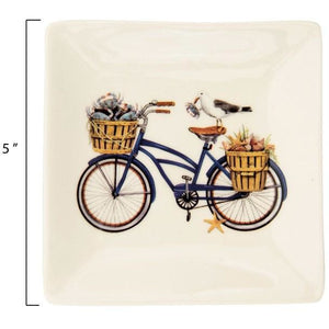 Stoneware Plate w/Bicycle