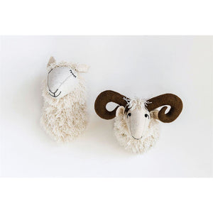 White Wool & Felt Ram Head Wall Decor