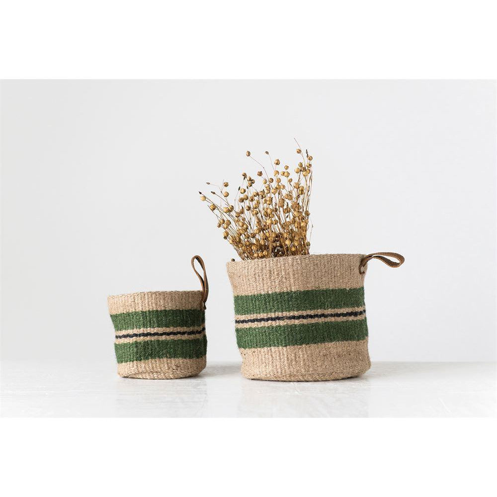 Green Striped Jute Baskets w/ Loop