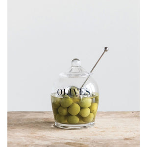 """Olives"" Glass Jar w/Stainless Steel Slotted Spoon"