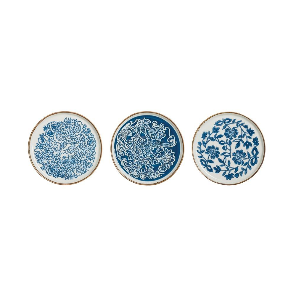 Hand-Stamped Blue & White Stoneware Plate