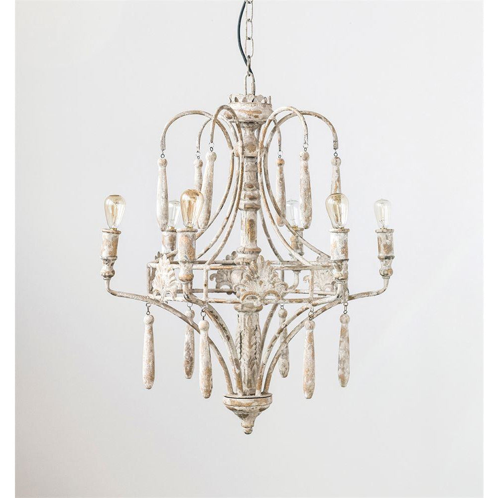 White Metal Vintage Chandelier w/ 6 Lights