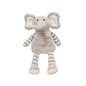 Grey w/Grey & White Stripes Plush Elephant