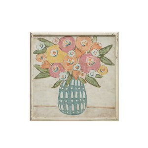 Square Wood Framed Wall Decor w/Flowers in Vase