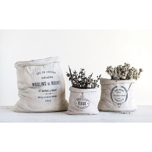 Cement Feed Sack Planter - Medium