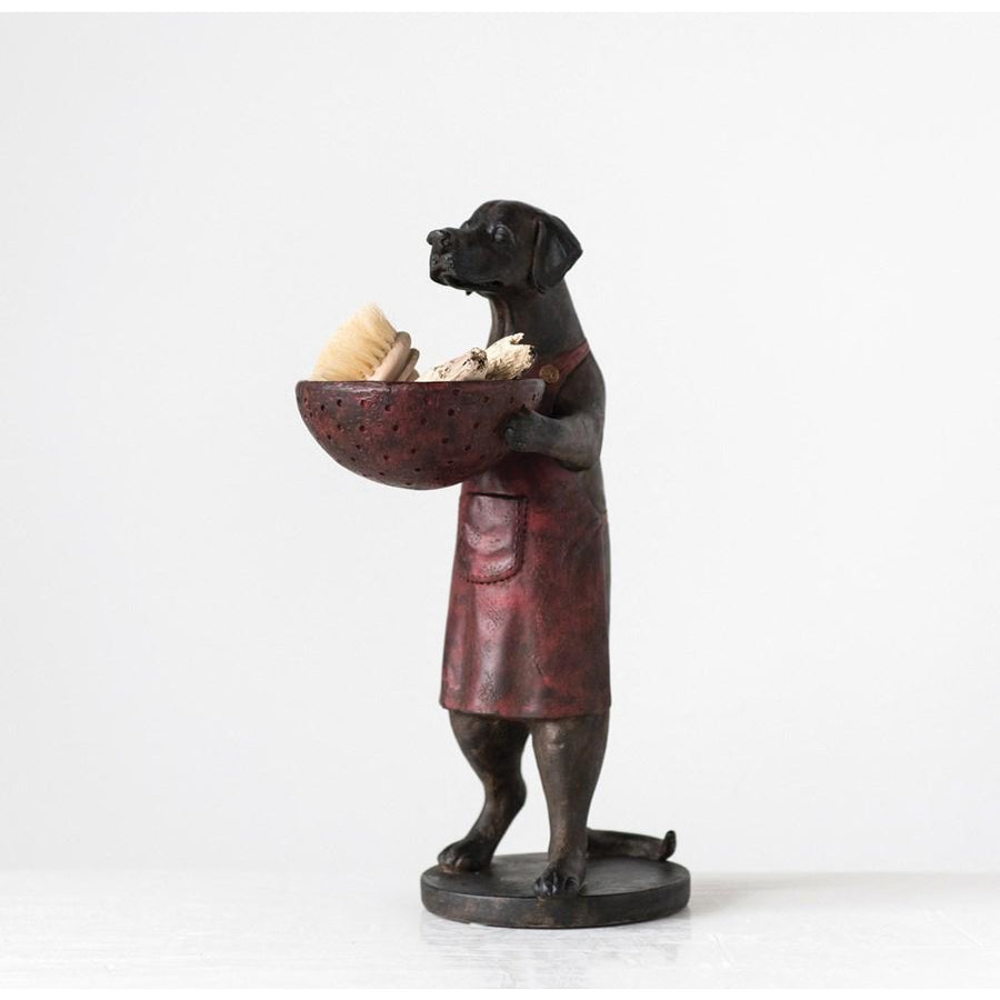 Brown & Red Resin Dog w/Decorative Bowl