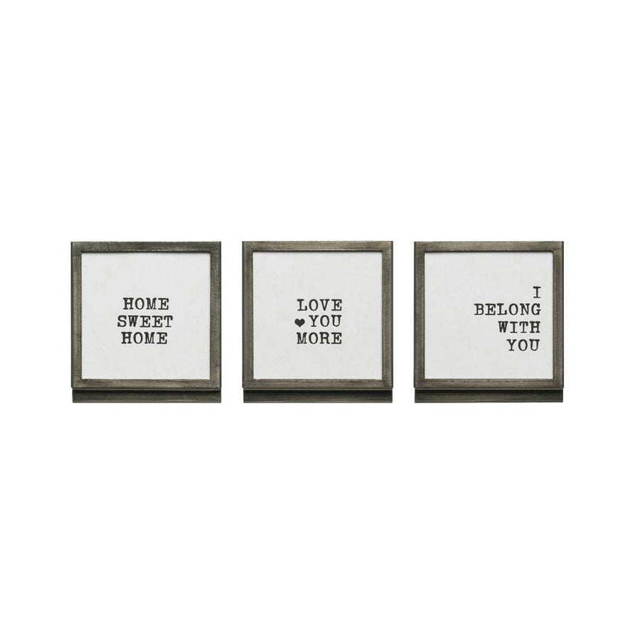 Metal & Glass Square Frame w/ Easel & Saying,
