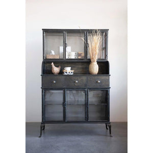 Antique Black Finish Metal Cabinet w/6 Glass Doors, 3 Drawers & Shelf