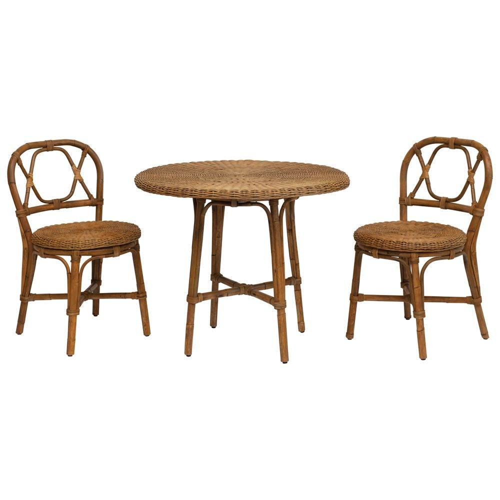 Hand-Woven Rattan Bistro Table & 2 Chairs