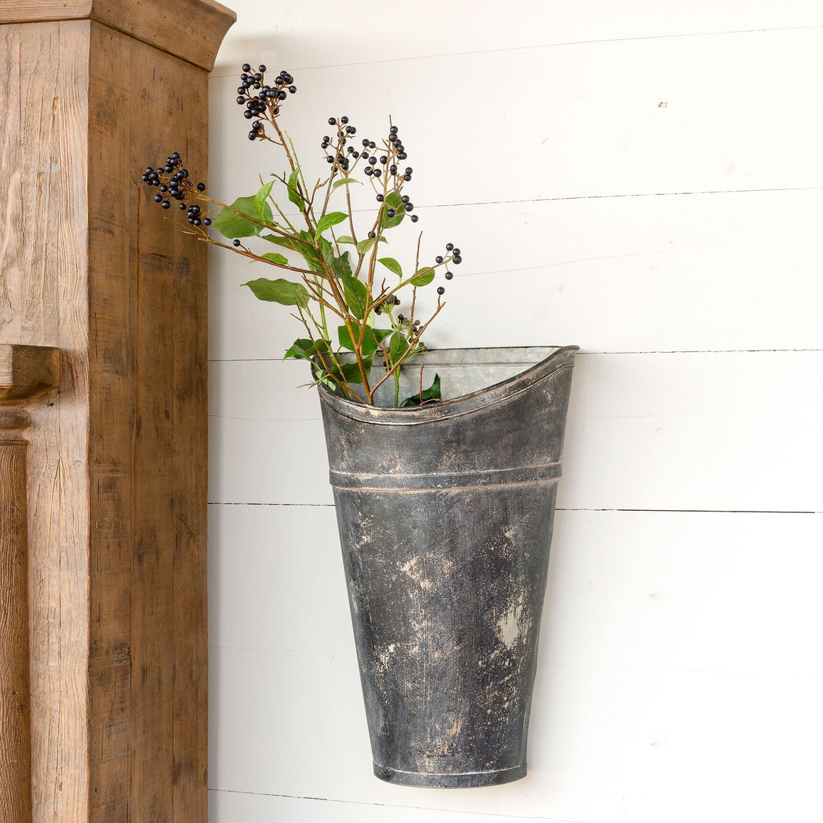Aged Black Picking Wall Bucket