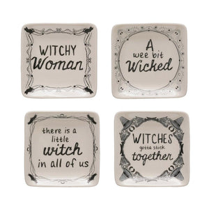 Square Stoneware Plate w/Witch Saying