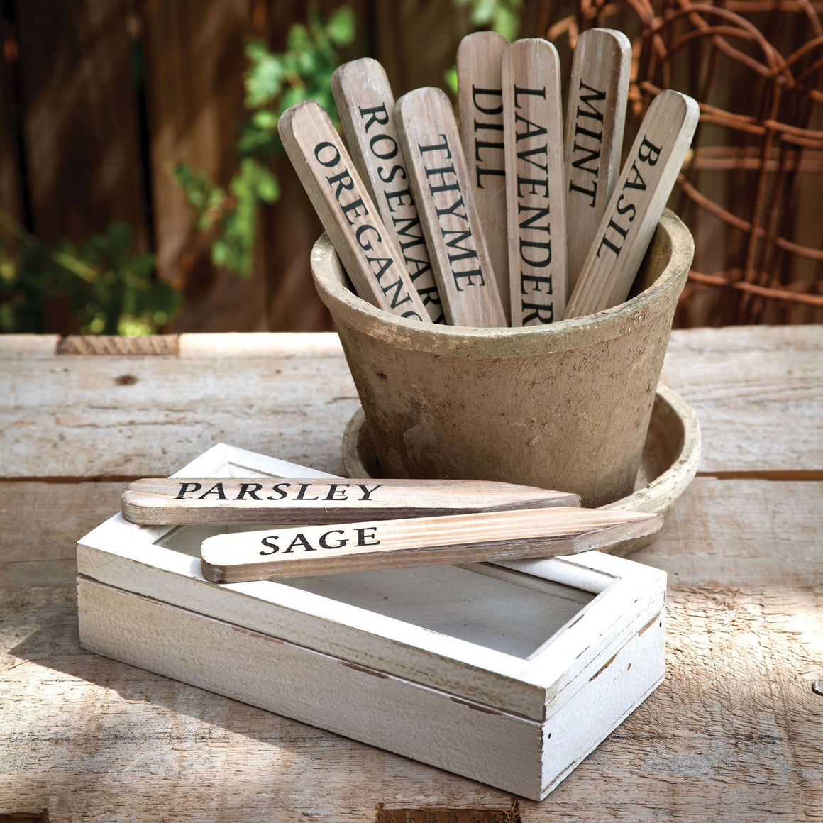 Wooden Herbal Plant Stakes Set