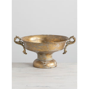 Metal Urn with Handles and Golden Metallic Finish