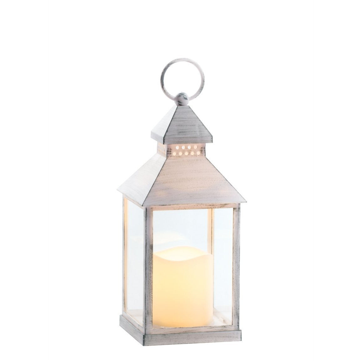 Lantern Candle w/Pillar - White