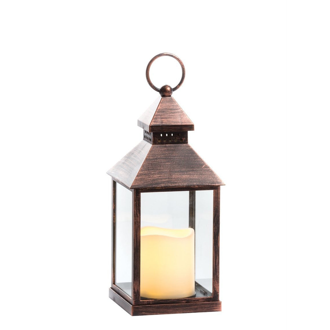 Lantern Candle w/Pillar - Copper