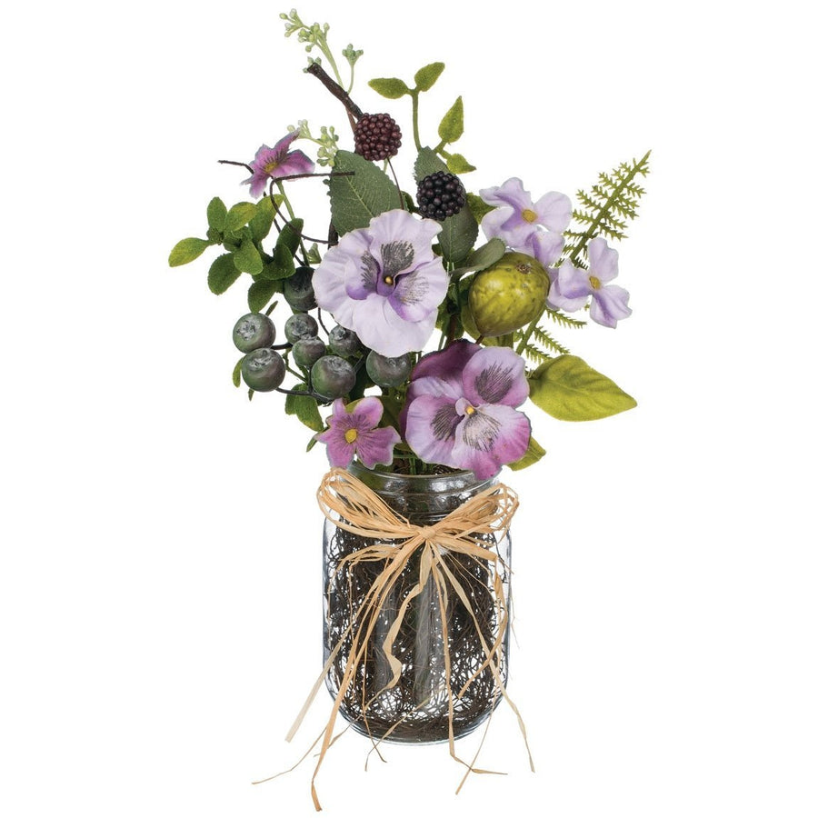 Pansy/Berry Arrangement in Glass Jar