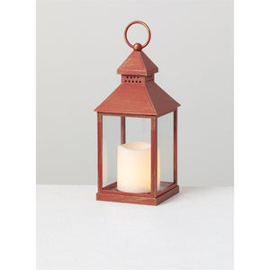 Lantern Candle w/Pillar - Red