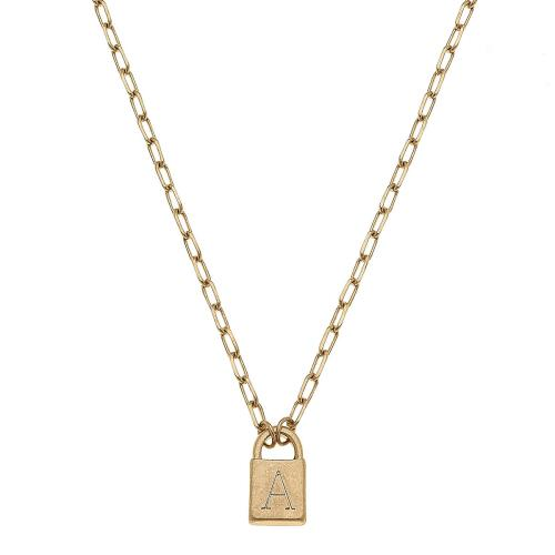 Kinsley Padlock Initial Necklace
