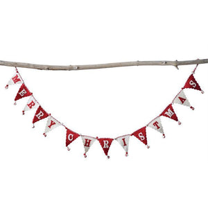 """Merry Christmas"" Cream & Red Wool Felt Pennant Garland"