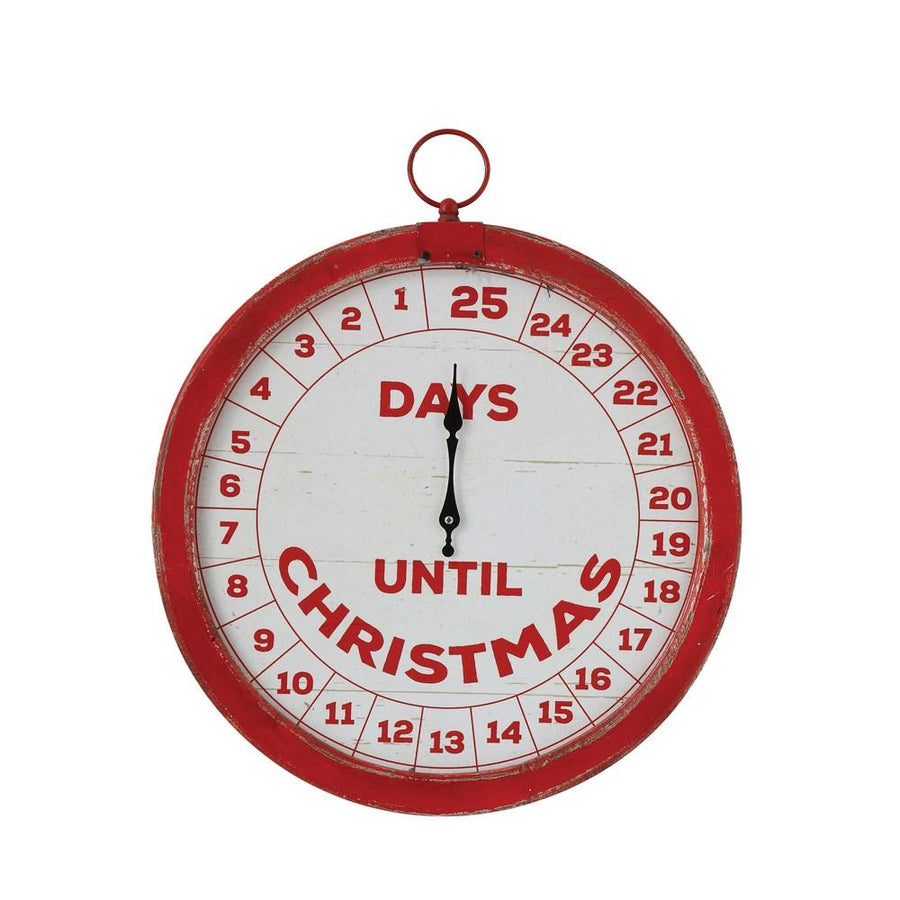 """Days Until Christmas"" Distressed Red & Cream Wood Countdown Wall Decor"