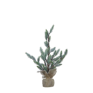 "15-3/4""H Faux Christmas Tree in Burlap Base Snow Finish"