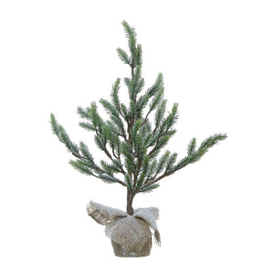 "21-1/2""H Faux Christmas Tree in Burlap Base Snow Finish"