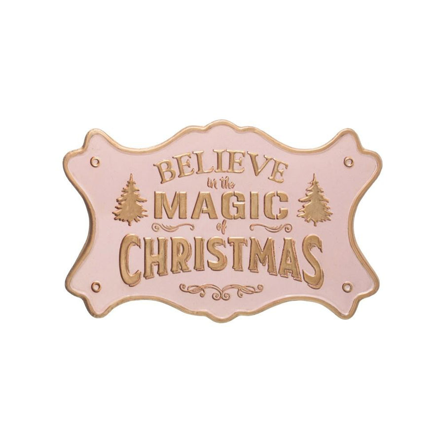 """Believe In The Magic Of Christmas"" Pink w/Gold Finish Embossed Metal Wall Decor"