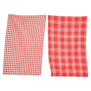 Red & Cream Color Plaid Cotton Tea Towel